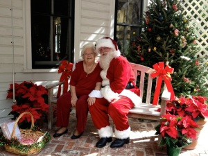 Member, Barbara B., as Mrs. Claus at Nehrling Gardens event