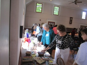 "Members shopping at our ""white elephant"" sale during our April 2014 general meeting"