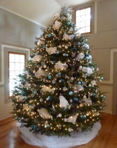 Beautiful blue and white Christmas Tree.