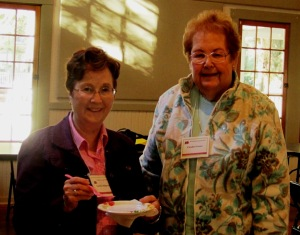 Two of our three hostesses enjoying the fruits of their labor. On the left is Carolyn R. and on the right is Carolyn G.