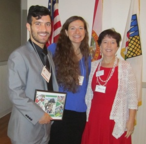 Left to right: UF scholarship graduate student Ray O., UF scholarship undergraduate student Allison B., their academic advisor Amy A.