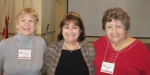 Left to right: 1st VP Jill T., Speaker Katy Warner, President Peggy C.