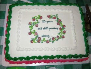 Cake which was part of the refreshments at the March general meeting which celebrates the 20th anniversary of the Crazy Card Party and Luncheon (CCP) fundraiser.