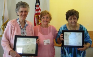 Life membership awarded by current CCP Chairman Bonnie B. to Member Dot B. on the left and President Peggy C. on the right
