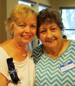Left to right: Incoming President Bonnie B. and Outgoing President Peggy C.