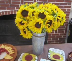 Beautiful arrangement of sunflowers by hostess Diane L.