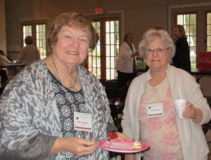 Treasurer Mary Ann B. on the left and member Shirley M. enjoying some refreshments.