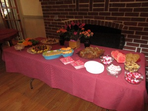 Wonderful and fun valentine themed snacks provide by Hostesses Maggie K. and Marlene G.