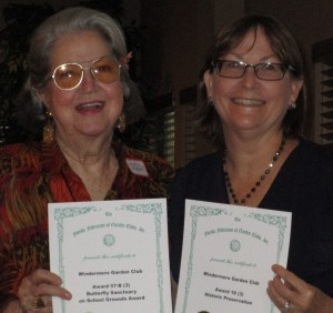 Left is Corresponding Sec. Jackie R. with Butterfly Sanctuary on School Grounds and on right is Vicki H. with Historical Preservation Award.