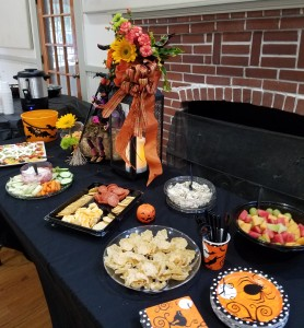 Some of the yummy snacks and halloween decorations and floral designs