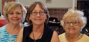Left to Right: President Bonnie B., Speaker & Member Vicki H. and 1st VP Mary B.