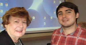 L to R: Treasuer Mary Ann B. and Scholarship Student Travis Marois