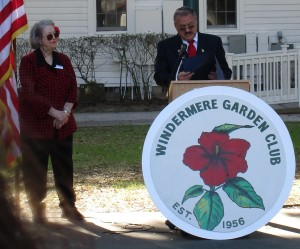 Speaking is Windermere Mayor Gary Bruhn and Arbor Day Co-chairman Jackie R. Not shown is Windermere Garden Club President Bonnie B. and Arbor Day Co-chairman Peggy C.