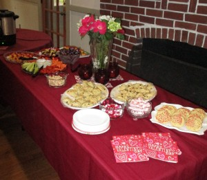 Some of the yummy snacks provided by and set up by our Hostesses Marlene G. and Maggie K.