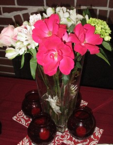 Beautiful floral display at our snack table by Hostess Maggie K.